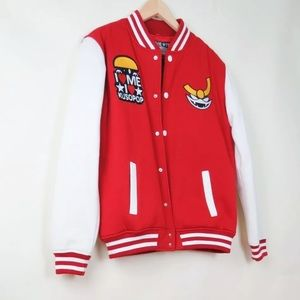 Kusopop Drakness X Retronin red varsity jacket M